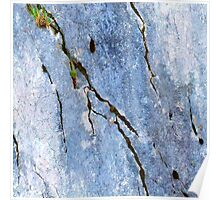 Blue Craked Wall  Poster