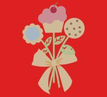 Cookies cupcake flower bouquet bow t-shirt One Piece - Short Sleeve