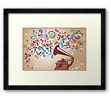 Vintage record player with abstract colorful swirls Framed Print
