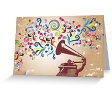 Vintage record player with abstract colorful swirls Greeting Card