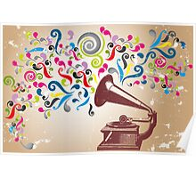 Vintage record player with abstract colorful swirls Poster