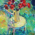 Sunny still life of rose flowers impressionistic painting Svetlana Novikova by Svetlana  Novikova