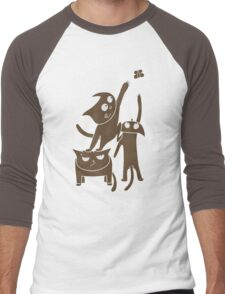 Three playful cats Men's Baseball ¾ T-Shirt