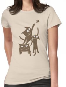 Three playful cats Womens Fitted T-Shirt