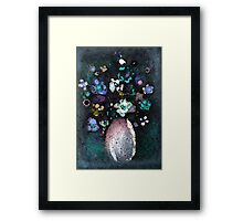 """Glazed Flowers in Curved Vase""© Framed Print"