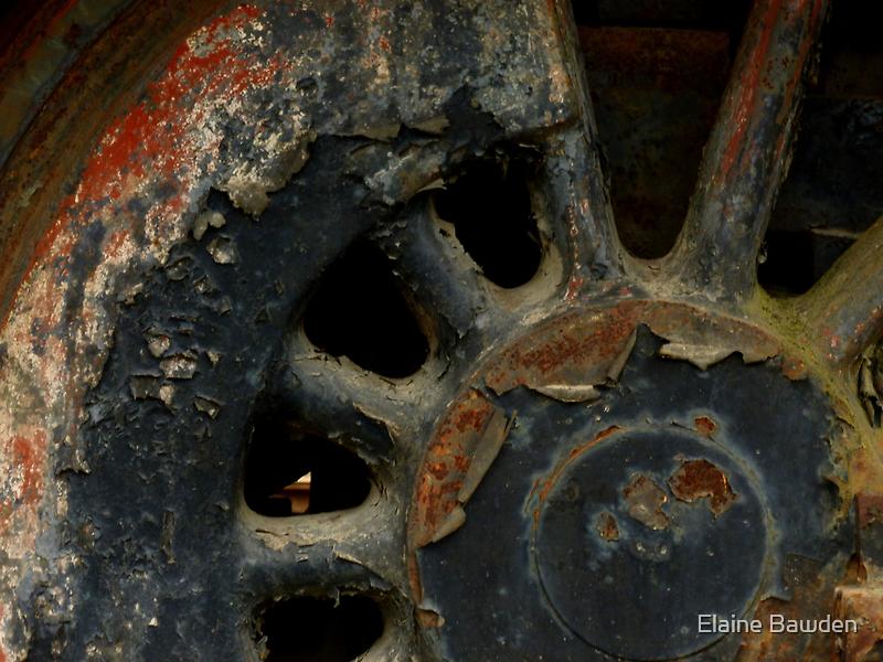 Grunge ~ Engine Wheel by Elaine Bawden