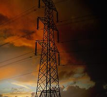 Electric Pylon at Dusk by buttonpresser