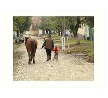 Pappa, Grandaughter & Horse - Romanian Village Art Print
