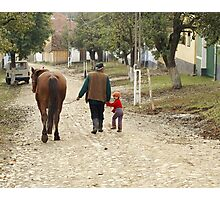 Pappa, Grandaughter & Horse - Romanian Village Photographic Print