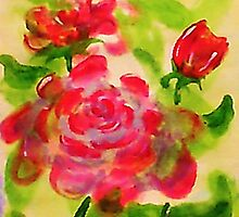 Majestic roses, watercolor by Anna  Lewis