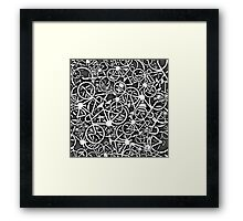 Tangled Up in Bikes 3 - Grey Framed Print