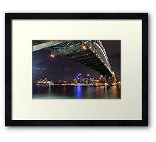 Sydney Harbour Bridge and Opera House at night  Framed Print