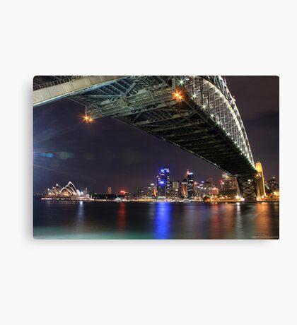Sydney Harbour Bridge and Opera House at night  Canvas Print
