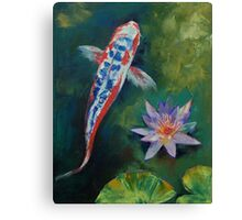 Shusui Koi and Water Lily Canvas Print