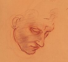 Michelangelo head study #1 - Original terra cotta prisma pencil drawing by Rebecca Rees