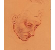 Michelangelo head study #1 - Original terra cotta prisma pencil drawing Photographic Print