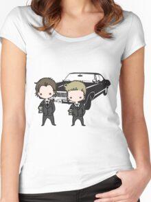 Supernatural Cartoon Dean & Sam Women's Fitted Scoop T-Shirt