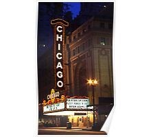 Chicago Theatre Evening, Chicago, IL Poster