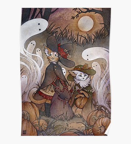 The Gathering - Kitten Witch Ghost Halloween Poster