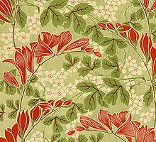 Nouveau iPhone Case Reds and Greens by Melanie  Dooley