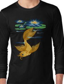 Gold Koi and Deep Blue Lilies Long Sleeve T-Shirt