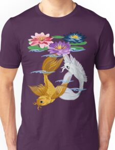 Gold and Silver Koi with Lilies Unisex T-Shirt