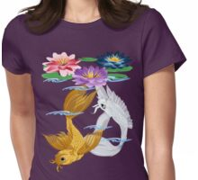 Gold and Silver Koi with Lilies Womens Fitted T-Shirt