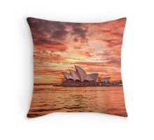 Fire in the Sky - Sydney Opera House Throw Pillow