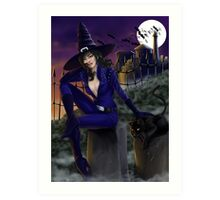 Sexy Witch in Halloween Night Art Print
