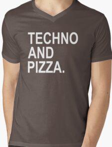 Techno And Pizza. Mens V-Neck T-Shirt