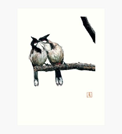 Two birds on a branch Art Print