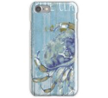 Blue Claw Crab Seafood Restaurant Sign iPhone Case/Skin