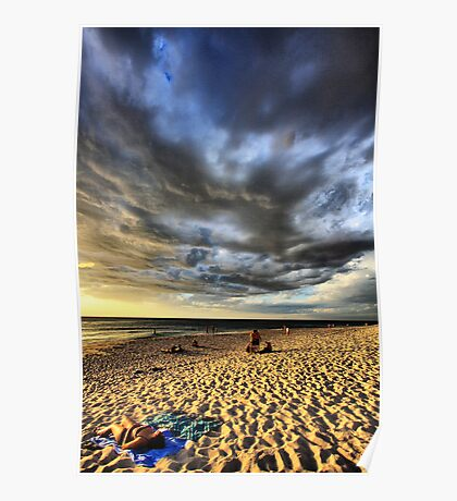 Sunbathing Under the Storm Clouds Poster