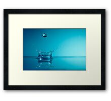 Splashing Water Droplet, close-up, studio shot Framed Print