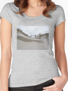 Sand Dune and Split Rail Fence Women's Fitted Scoop T-Shirt