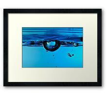 Droplet forming bubble, underwater Framed Print