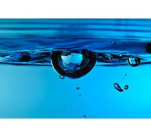 Droplet forming bubble, underwater Photographic Print