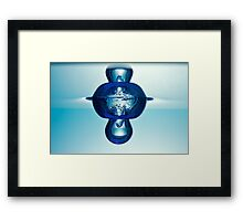 Water droplet forming bubbles underwater Framed Print