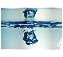 Droplet forming bubbles, underwater Poster