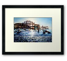 The West Pier , A derelict piece of victorian Architecture Framed Print