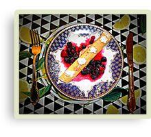 Lemon Curd Pancakes with Blueberries  Canvas Print