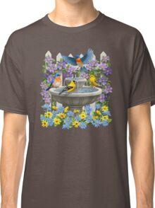 Bluebirds Goldfinches and Bird Bath Garden Classic T-Shirt
