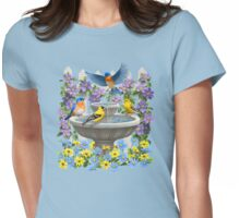 Bluebirds Goldfinches and Bird Bath Garden Womens Fitted T-Shirt