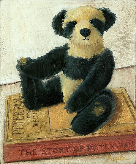 Christopher Robin- teddy bear portrait by LindaAppleArt