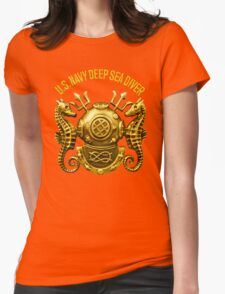 Navy Diver Womens Fitted T-Shirt