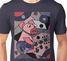 Funny Pigcasso Pig Playing Guitar Modern Art Unisex T-Shirt