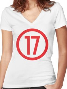 Red 17 - Where Level 6 is born Women's Fitted V-Neck T-Shirt