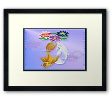 Gold and Silver Koi with Lilies Framed Print