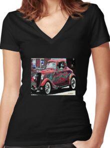 vintage car Women's Fitted V-Neck T-Shirt