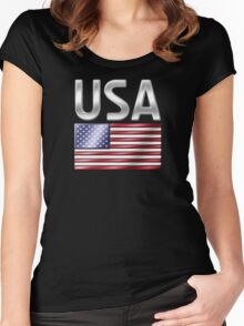 USA - American Flag & Text - Metallic Women's Fitted Scoop T-Shirt